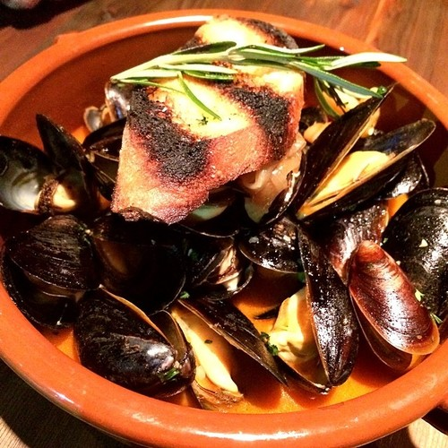BLACK MUSSELS @txokoskitchen steamed in lemon juice and pimenton, gigante beans, chorizo, jamon
