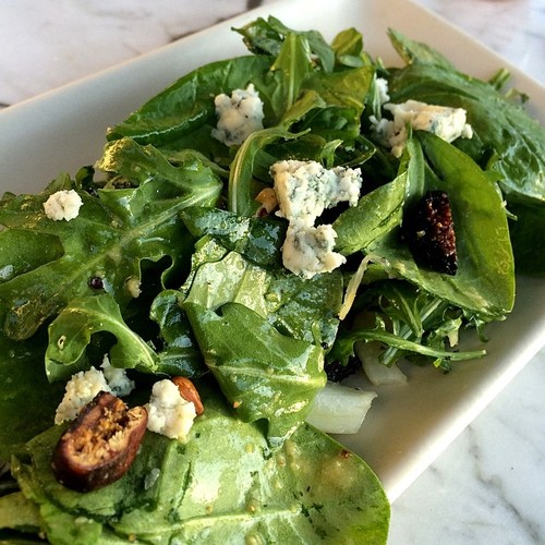 With dried figs, arugula, candied walnuts, sliced fennel, Pt. Reyes blue cheese, & balsamic vinaigrette