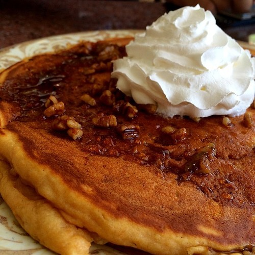 "Sweet Potato Pancake (@BrokenEggCafe) A ""fill the plate"" jumbo cake topped with cinnamon-marmalade infused syrup, spiced pecans & a dollop of whipped cream"