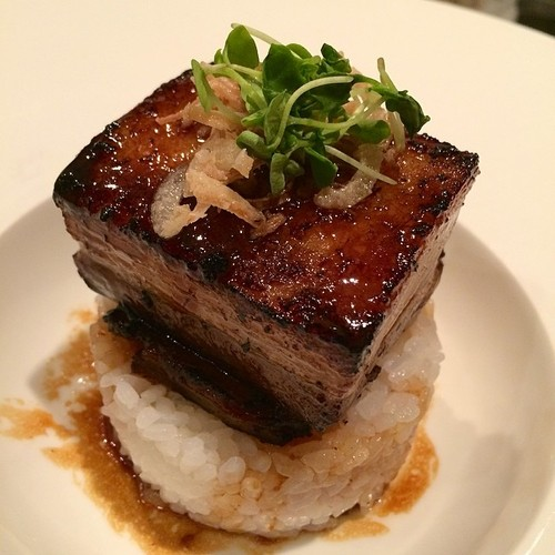 Kurabuta Pork Belly (@Kabooki_Sushi) Braised kurabuta pork belly, micro basil, tempura   shallot, and Tamaki seasoned sushi rice