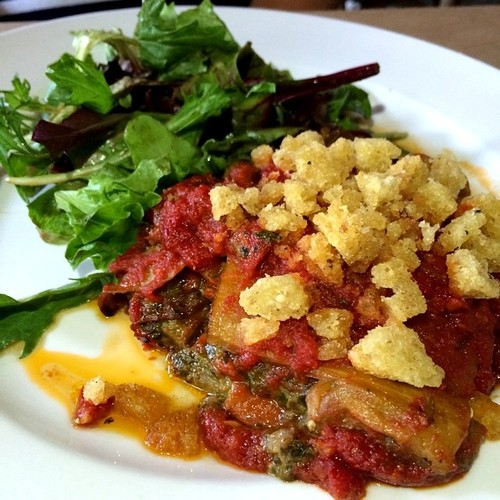 Eggplant, roasted red peppers, basil pesto, rosemary breadcrumbs, quattro staggioni salad