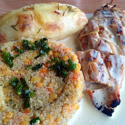 All natural grilled chicken breast with Dijon mustard sauce, served with rosemary potato and a lentil and quinoa salad