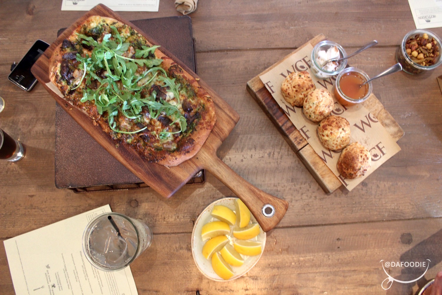 Chive Biscuits and Arugula Flatbread Appetizers