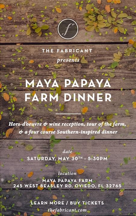 Maya Papaya Farm Dinner Flyer
