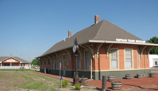 Concordia's old train depot redone to house the Orphan Train Museum. Pictures and stories of orphan train riders fill the space