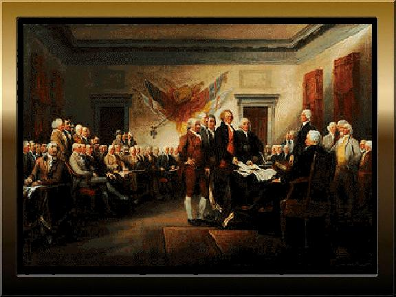 Fifty-six unhappy and very brave men gathered in Philadelphia to make a document that told King George III in England that they meant business about being an independent nation.