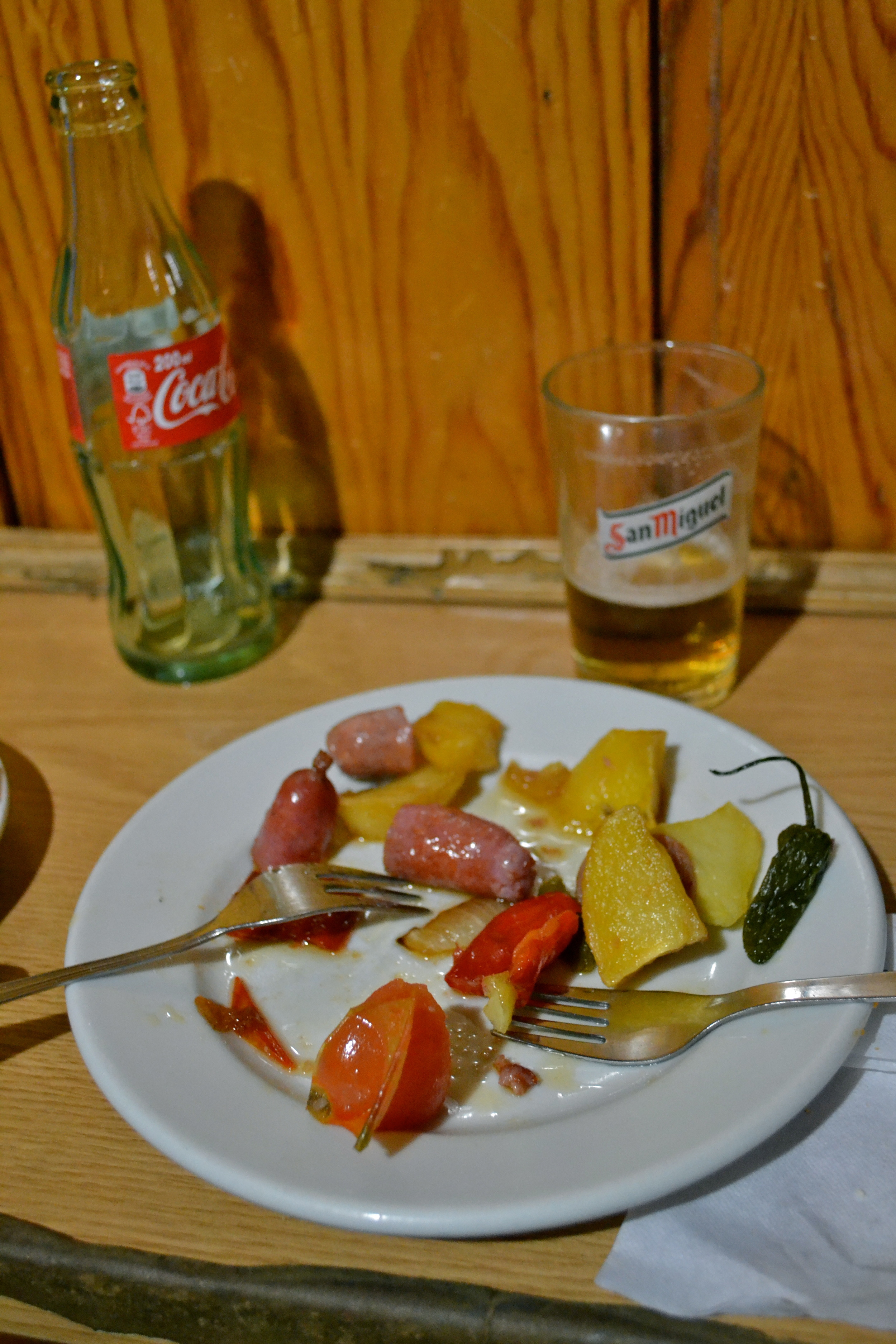 Typical tapas plate -- sausage and potatoes
