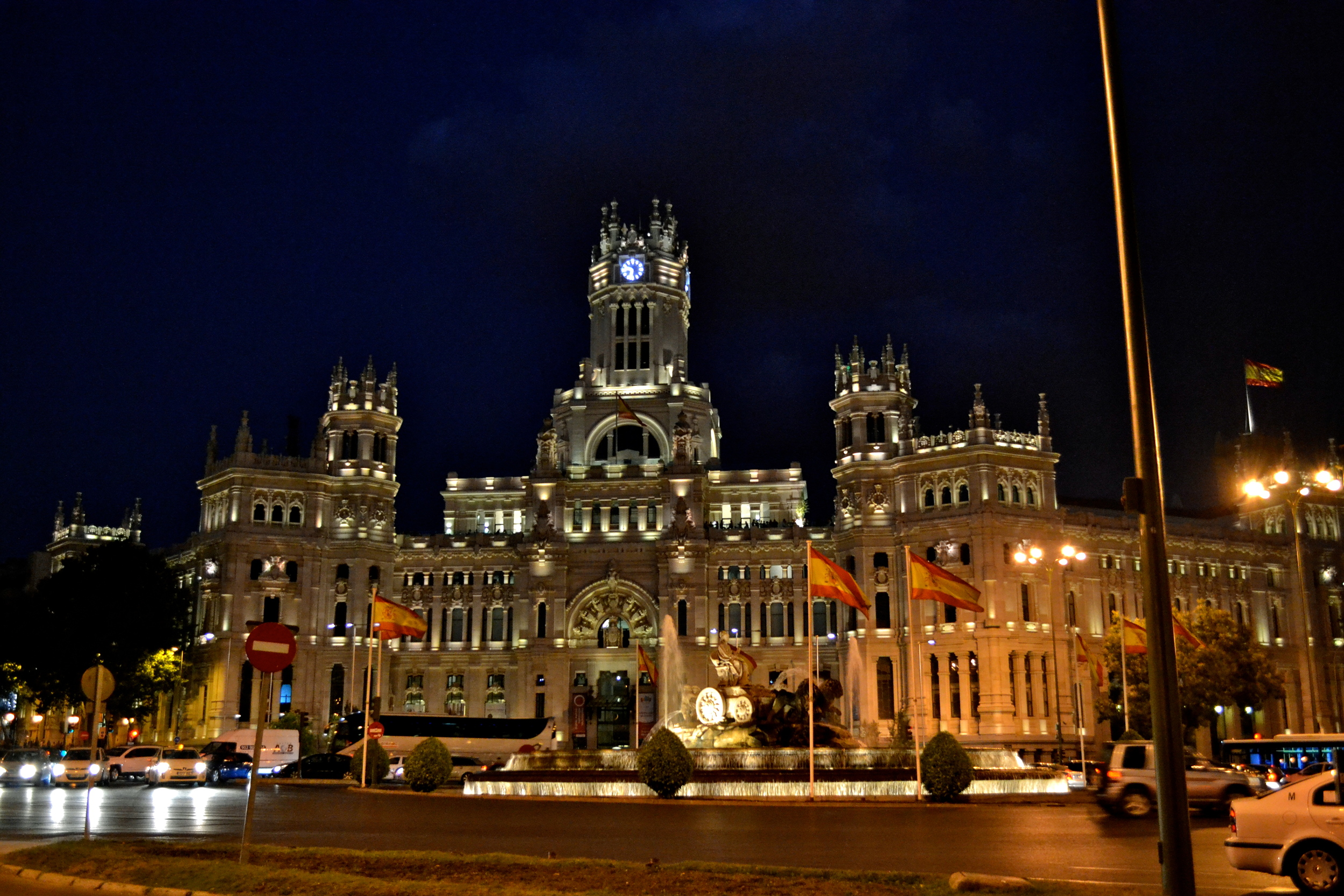 Palacio de Cibeles,  the city hall of Madrid. It was originally the postal service's headquarters.
