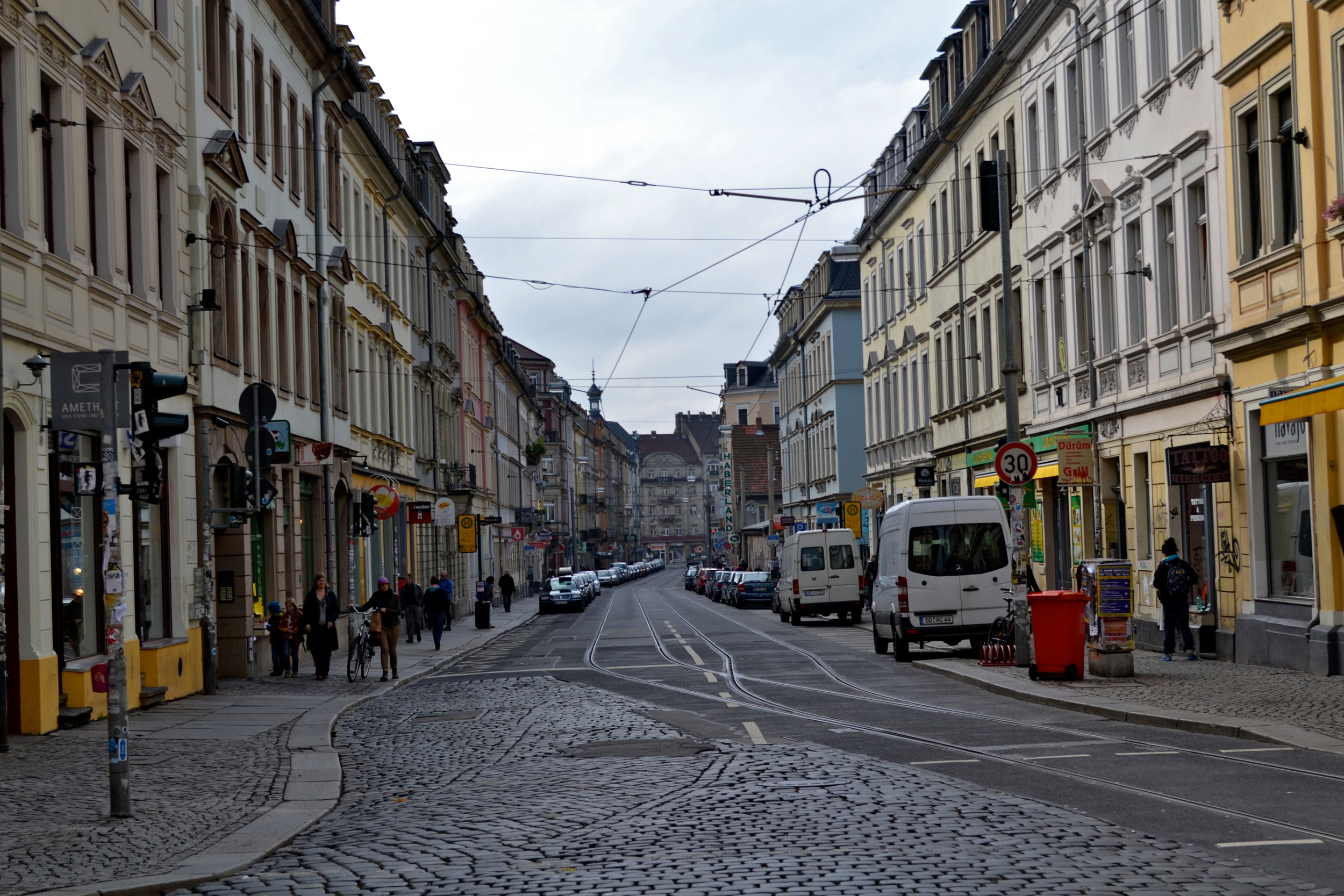 A typical street in Dresden's Neustadt.