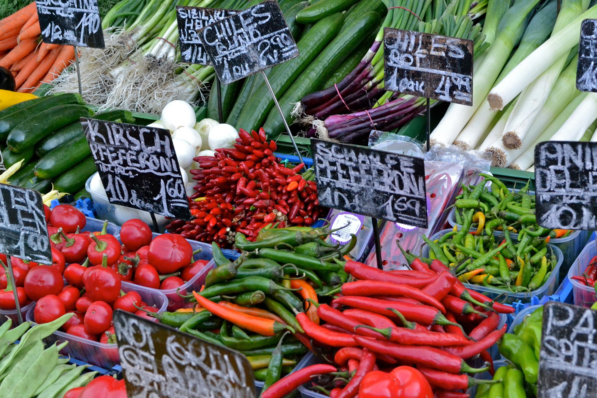 Fresh vegetables at the Naschmarkt.