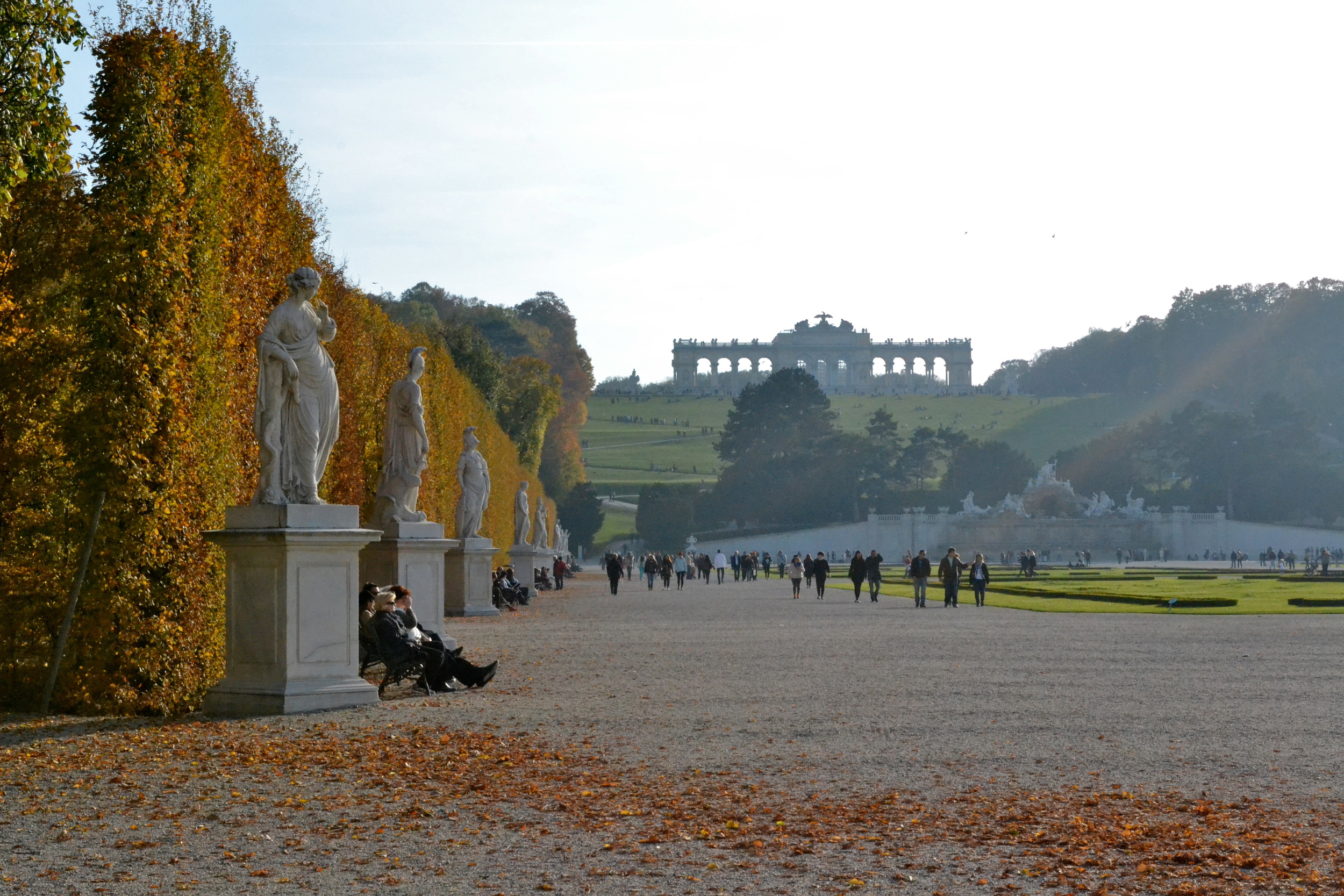 The gardens at the Schönbrunn Palace, with the Gloriette in the distance.
