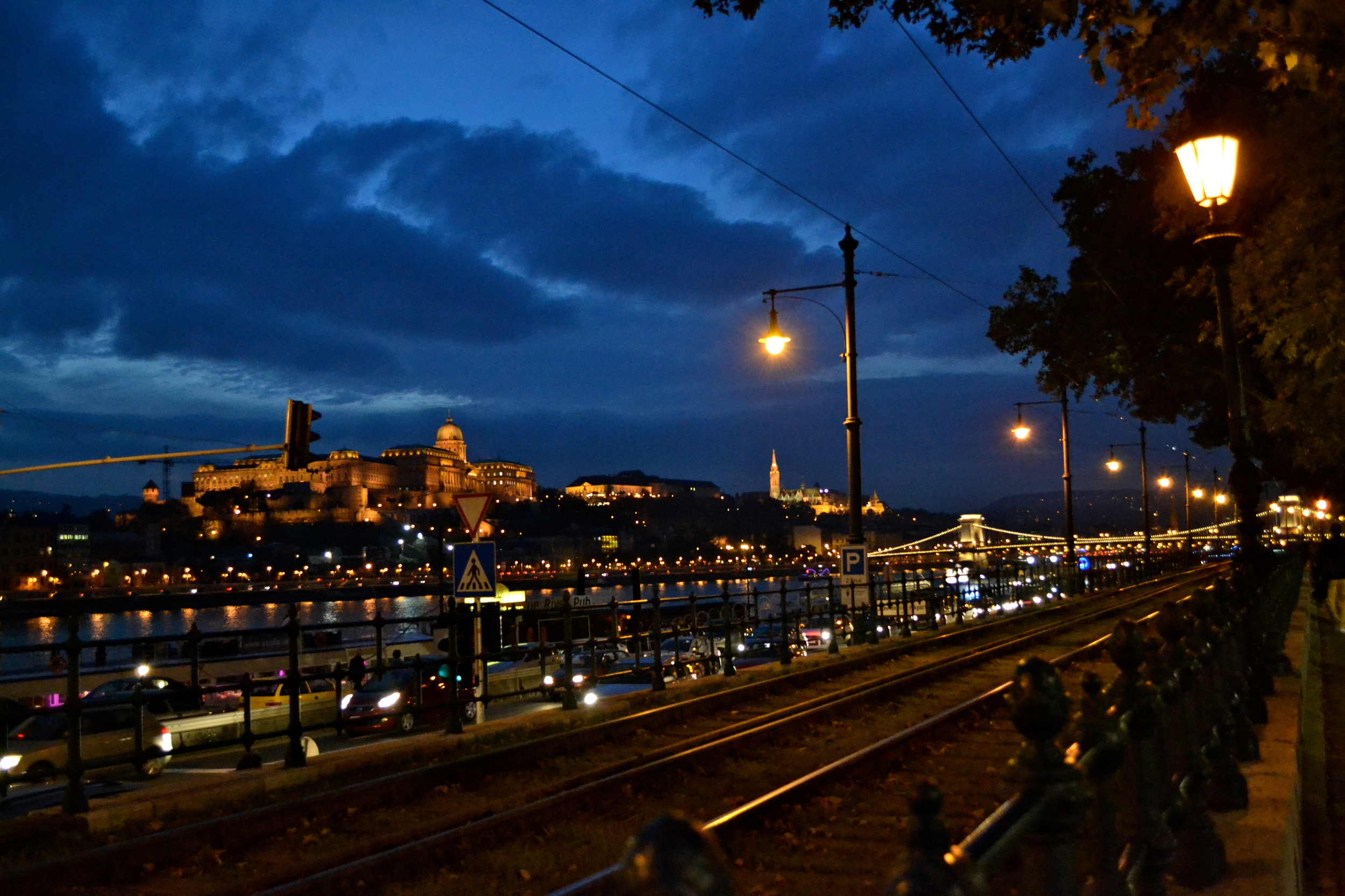 Looking across the Danube to Buda Castle at night.