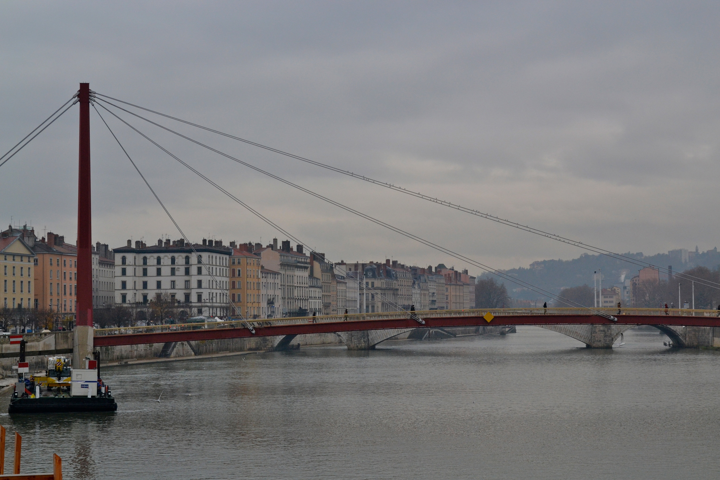 Looking over the Saône on a rainy day.