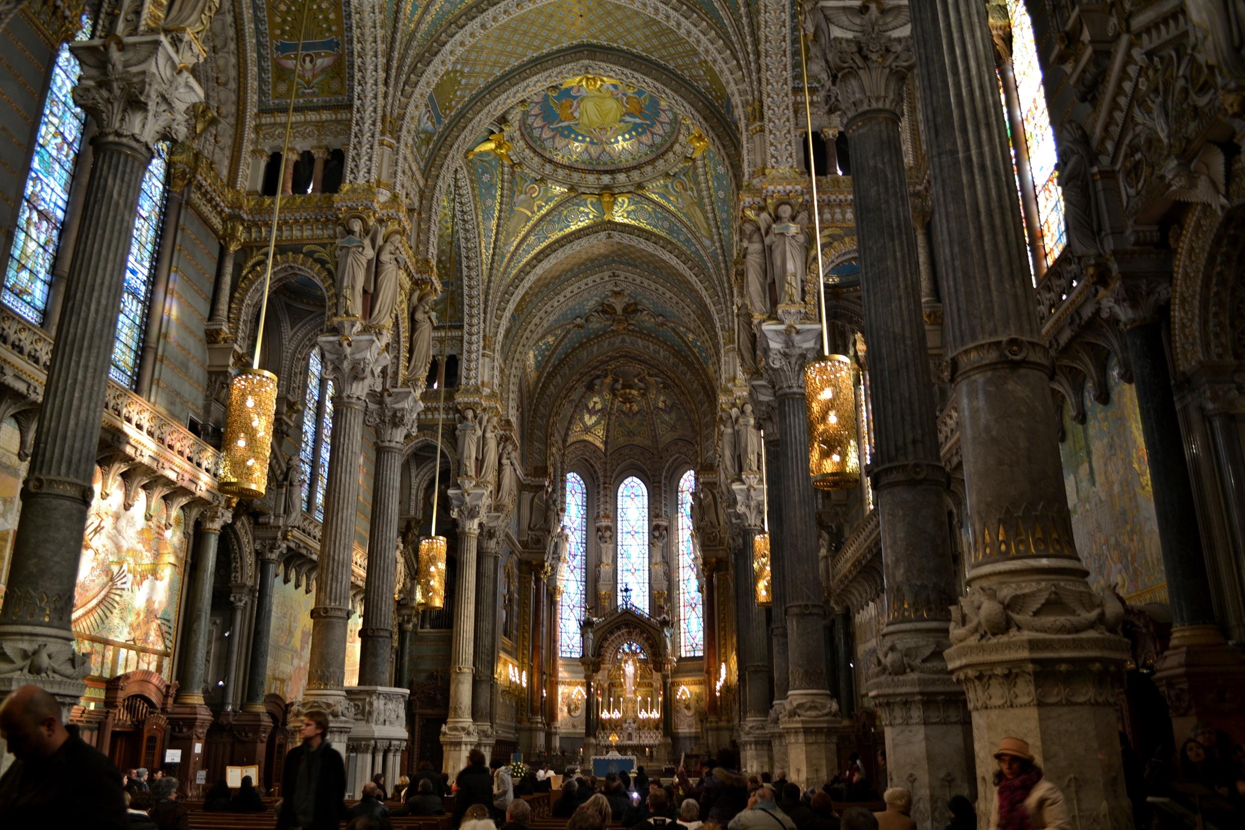 Inside the basilica of Notre-Dame de Fourviére