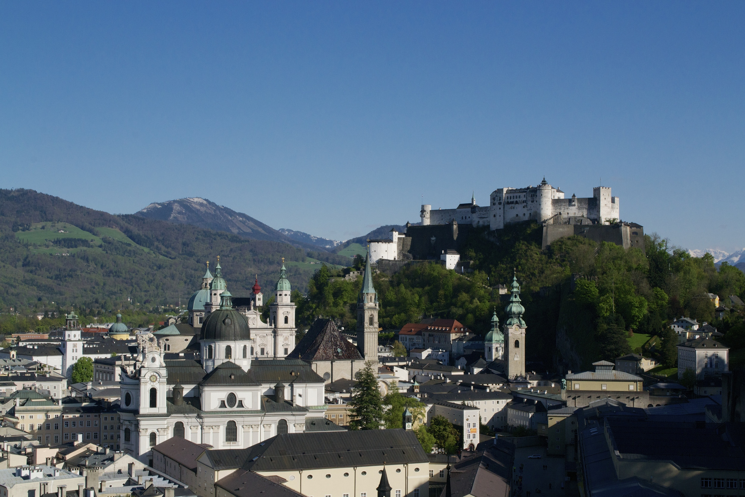The view of Salzburg from the Mönchsberg.