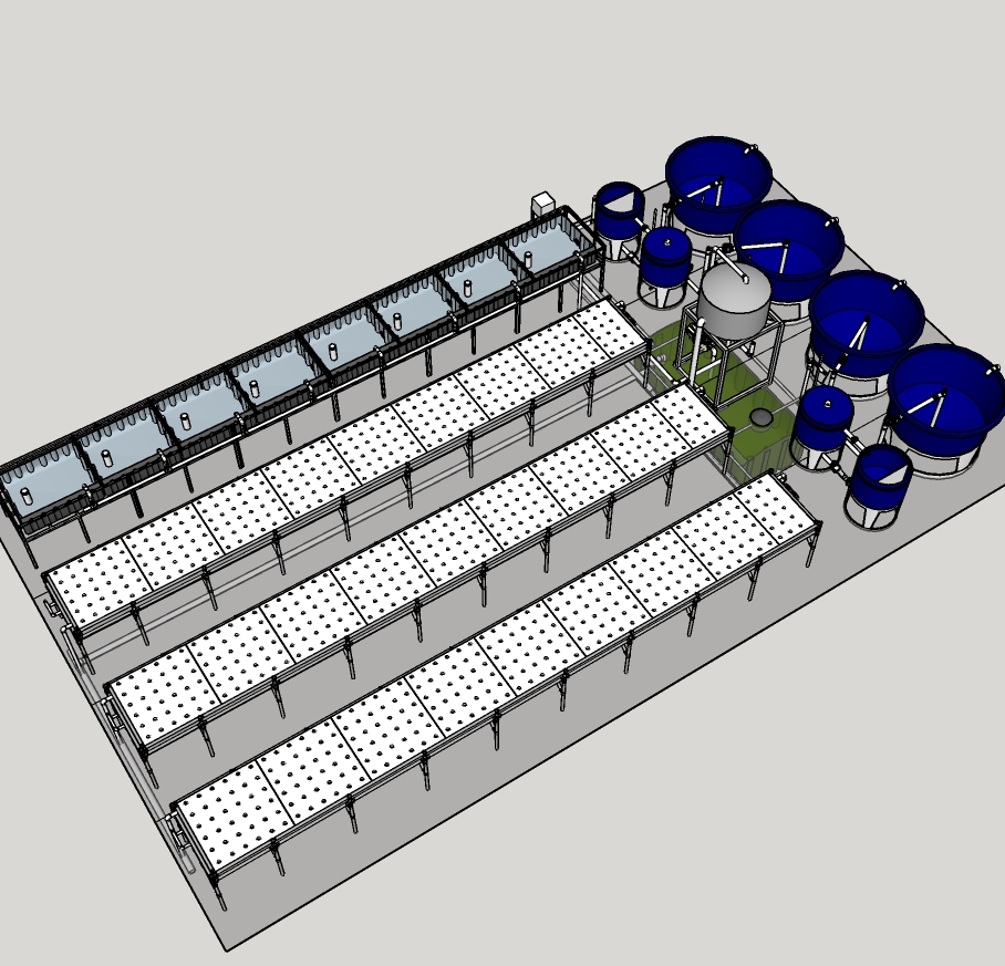 Large - Features three 4′ x 32′ raft bed and one 4′ x 32′ media bed:• 708 - 1182 lettuce sites• 7000 lbs greens, 1000 lbs veggies/yearly• Can produce 520 lbs. of tilapia yearly