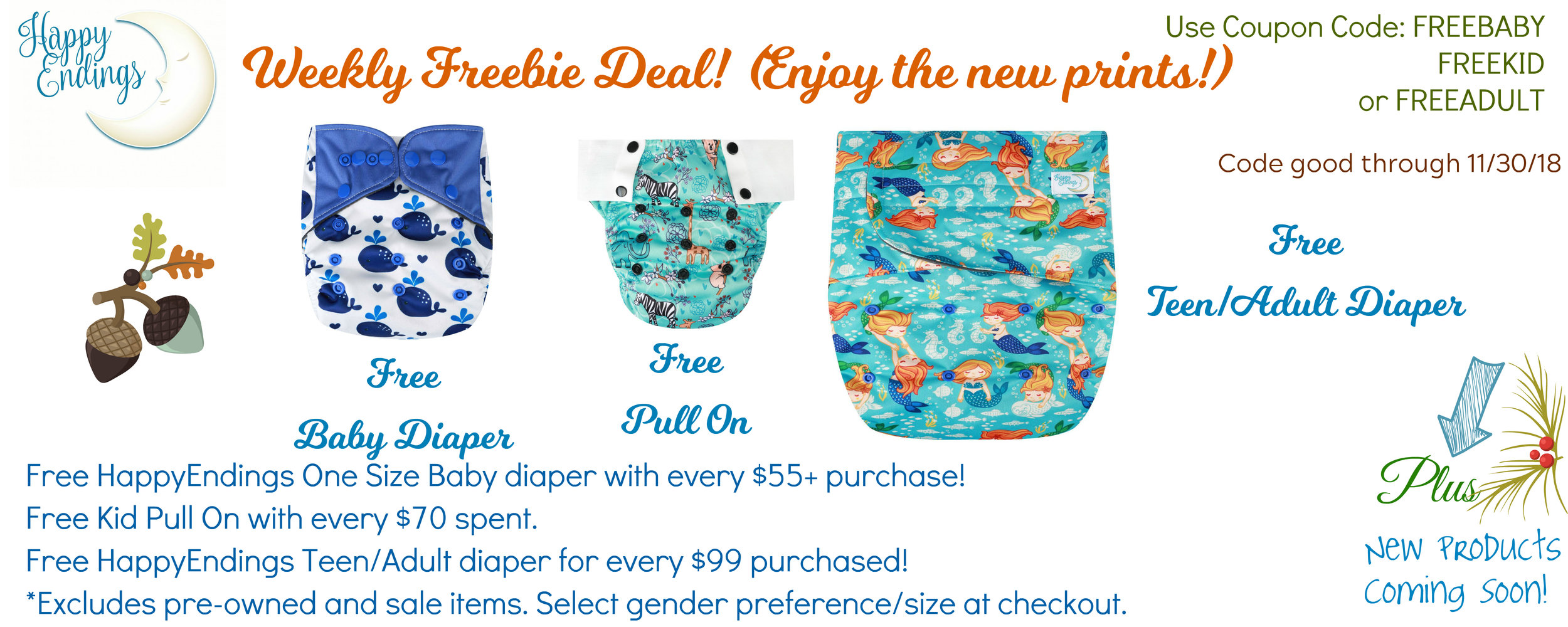 This offer cannot be combined with any other offer. Excludes pre-owned and adult product purchases. Free items selected by HappyEndings Eco Diapers; more prints than pictured available for the free diaper. Select gender preference during checkout.