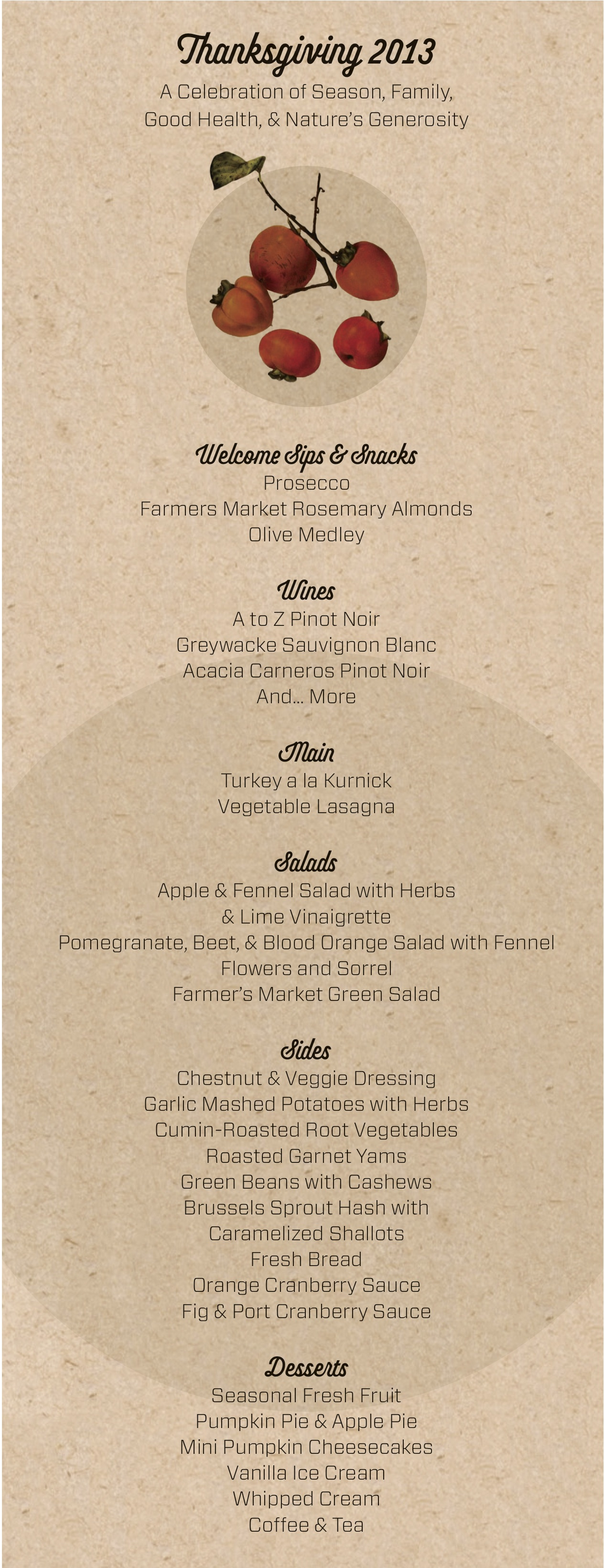 Thanksgiving menu 2013