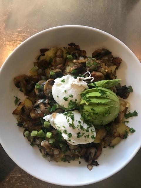 Mushroom Hash with avocado