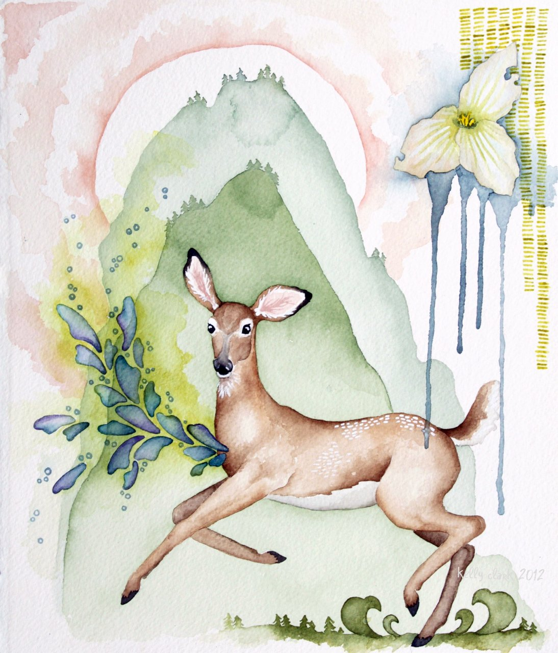 Working with a Realistic Doe and Trillium, Recognizable mountains, and Abstract marks, rings and halos.