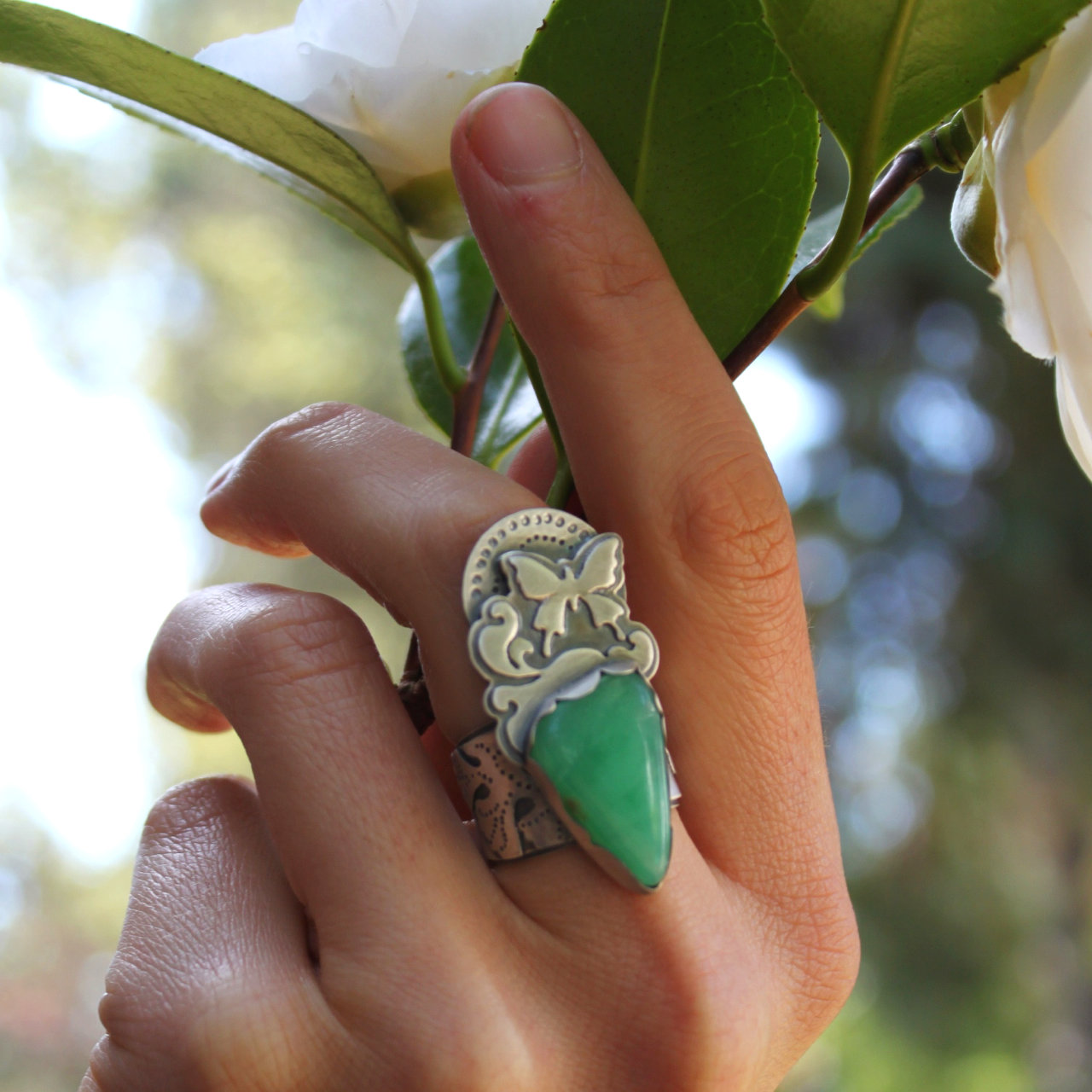 Metamorphosis Ring  (sterling silver and a perfectly chrysalis shaped cut of chrysoprase)