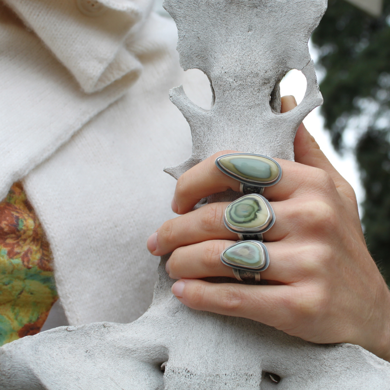 Marrow Rings  (sterling silver and imperial jasper)