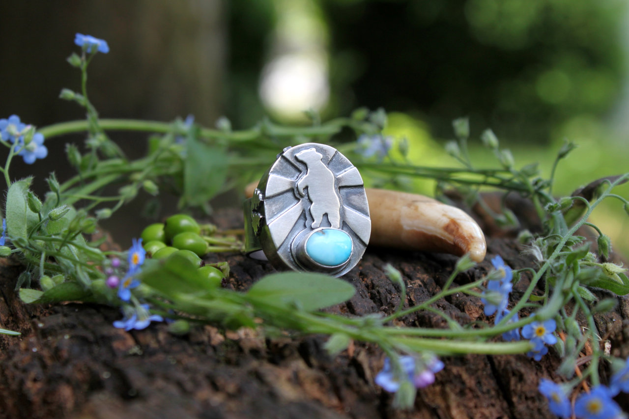 Ancestral Mythology: People of the Bear (sterling silver and Morenci Turquoise