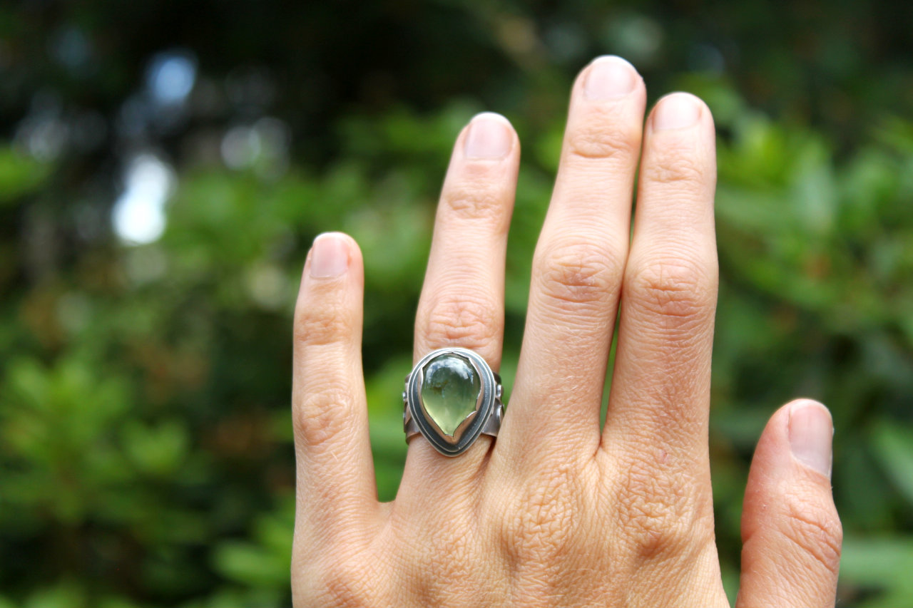 Healer Ring, sterling silver and prehnite