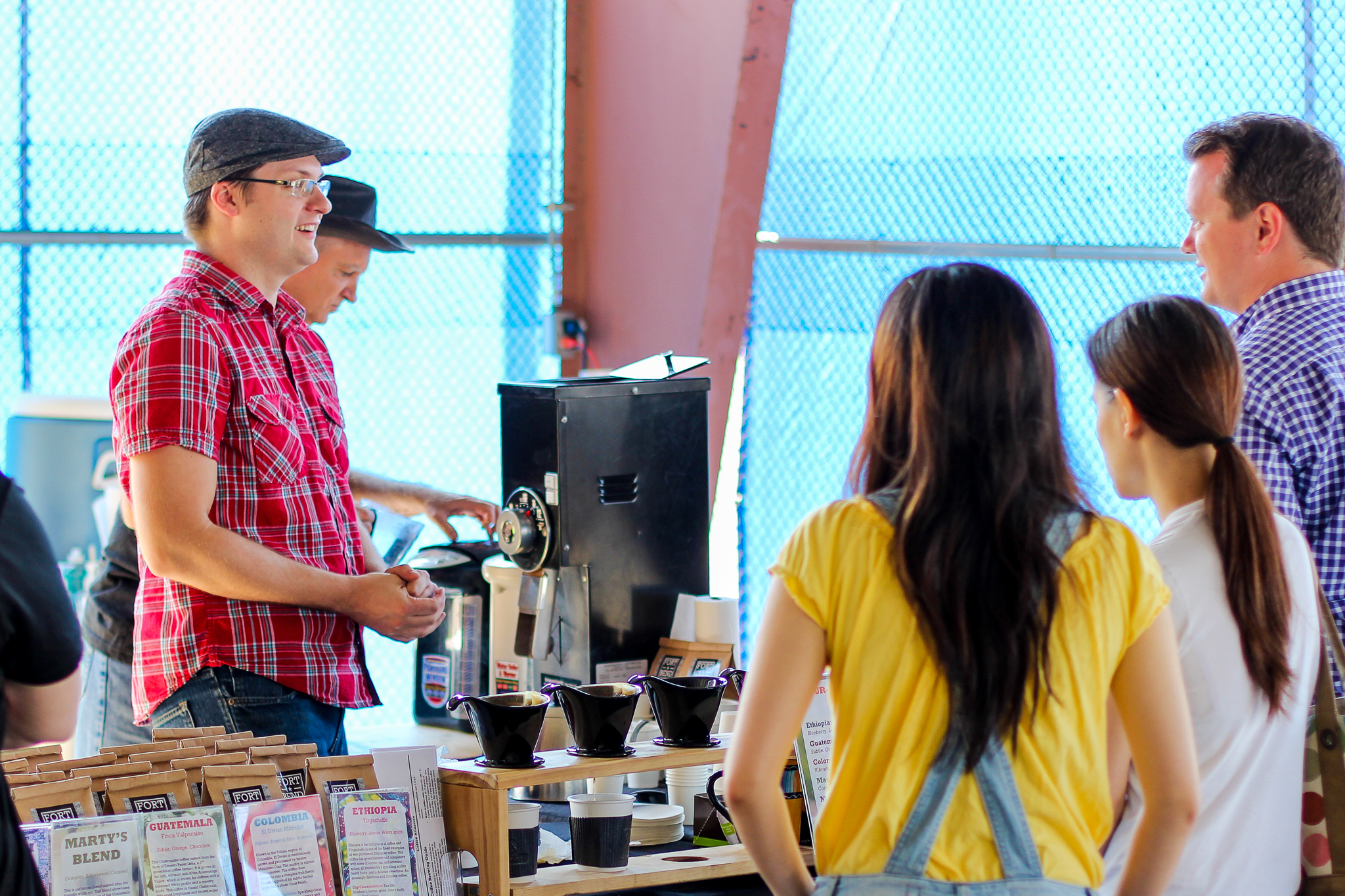 Pour-over coffee at the market.