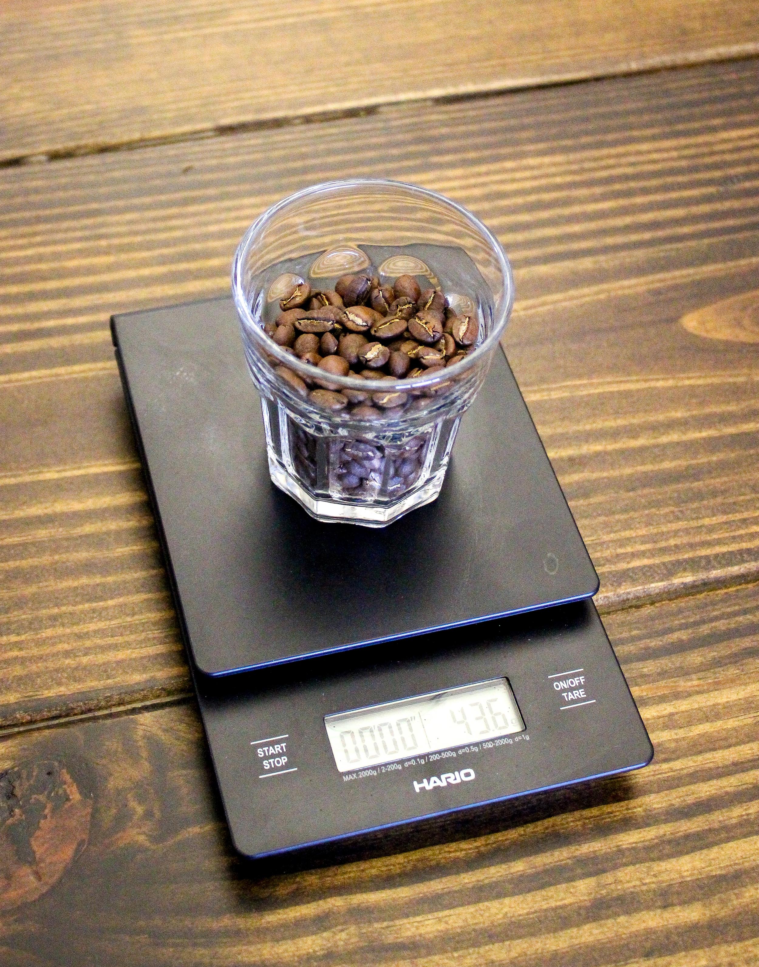 2. Weigh out 44 grams of coffee. Grind to medium-coarse consistancy (like turbinado sugar).