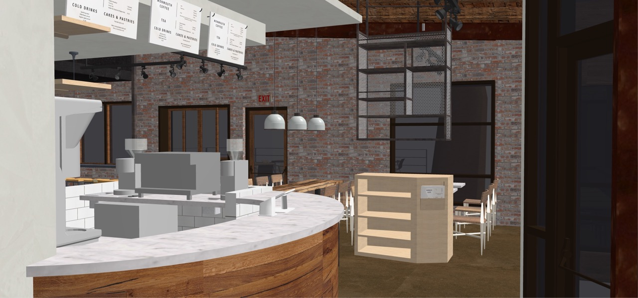 An architectural rendering of the interior of Blockhouse Coffee + Kitchen