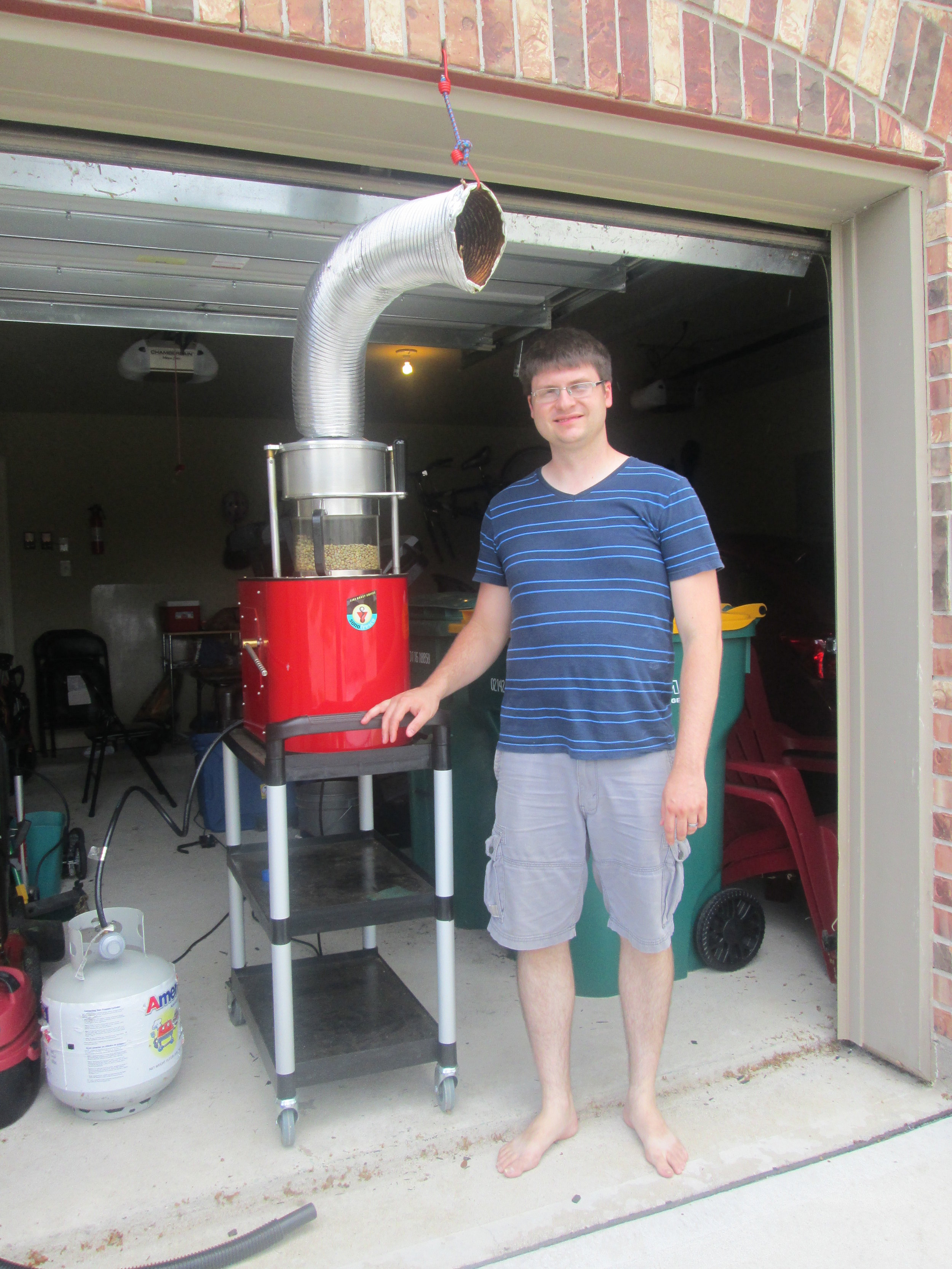 Our humble beginnings, roasting in our garage in 2013.