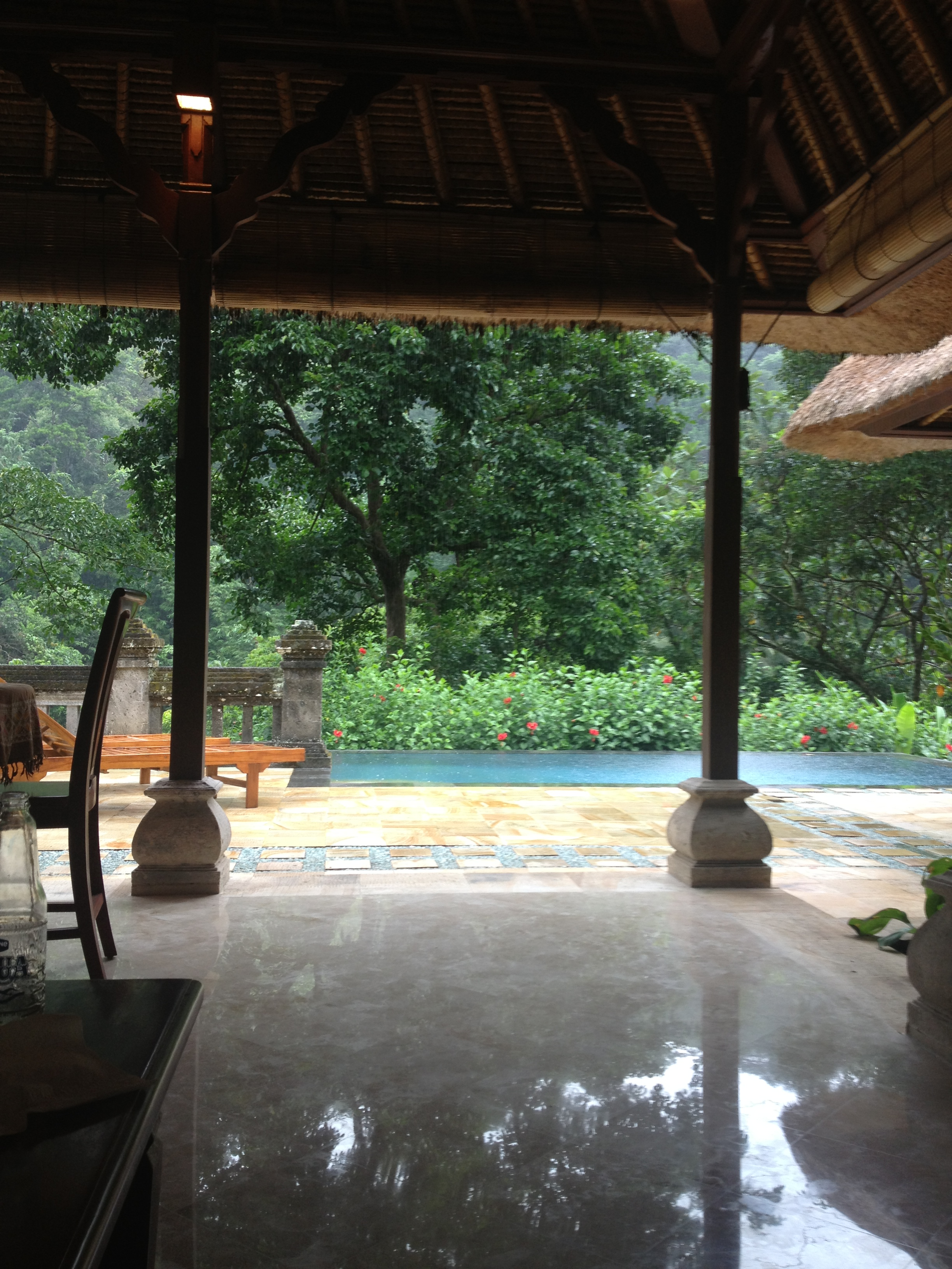 Our villa at Puri Wulundari during the afternoon rain.