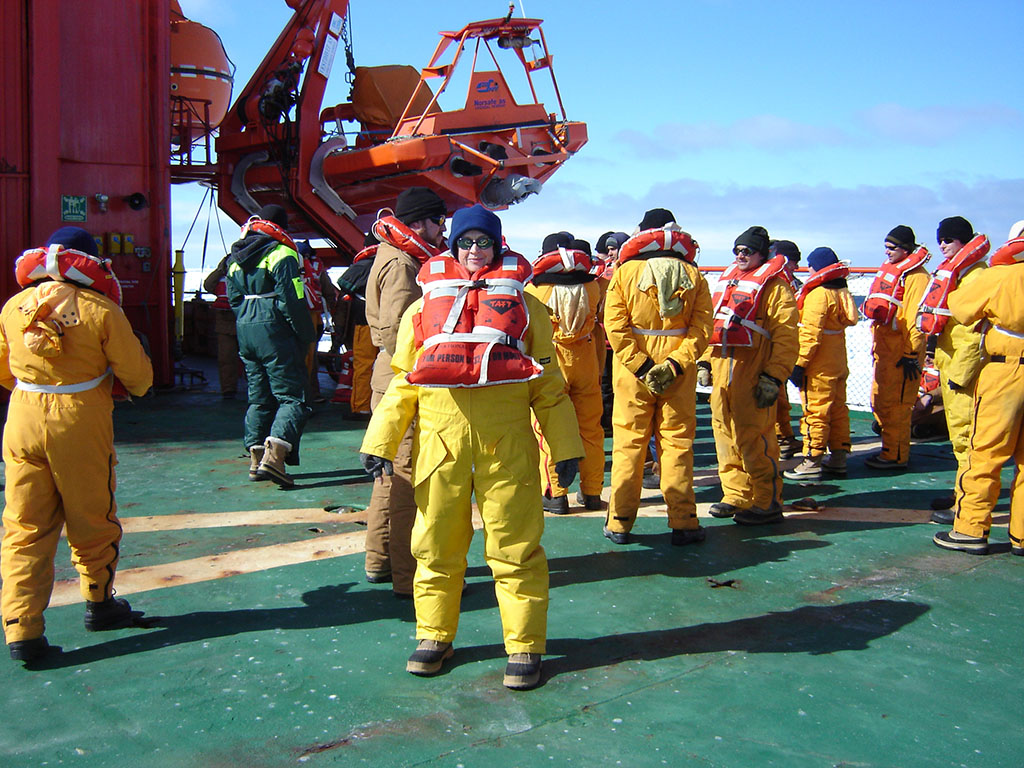 Emergency drill aboard Aurora Australis