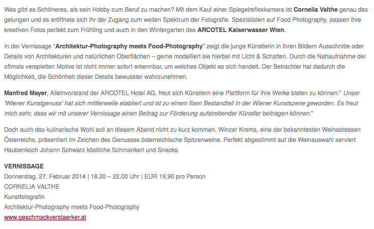 """Vernissage of Cornelia Kahr to """"Architecture-Photography meets Food-Photography"""" in ARCOTEL Vienna"""