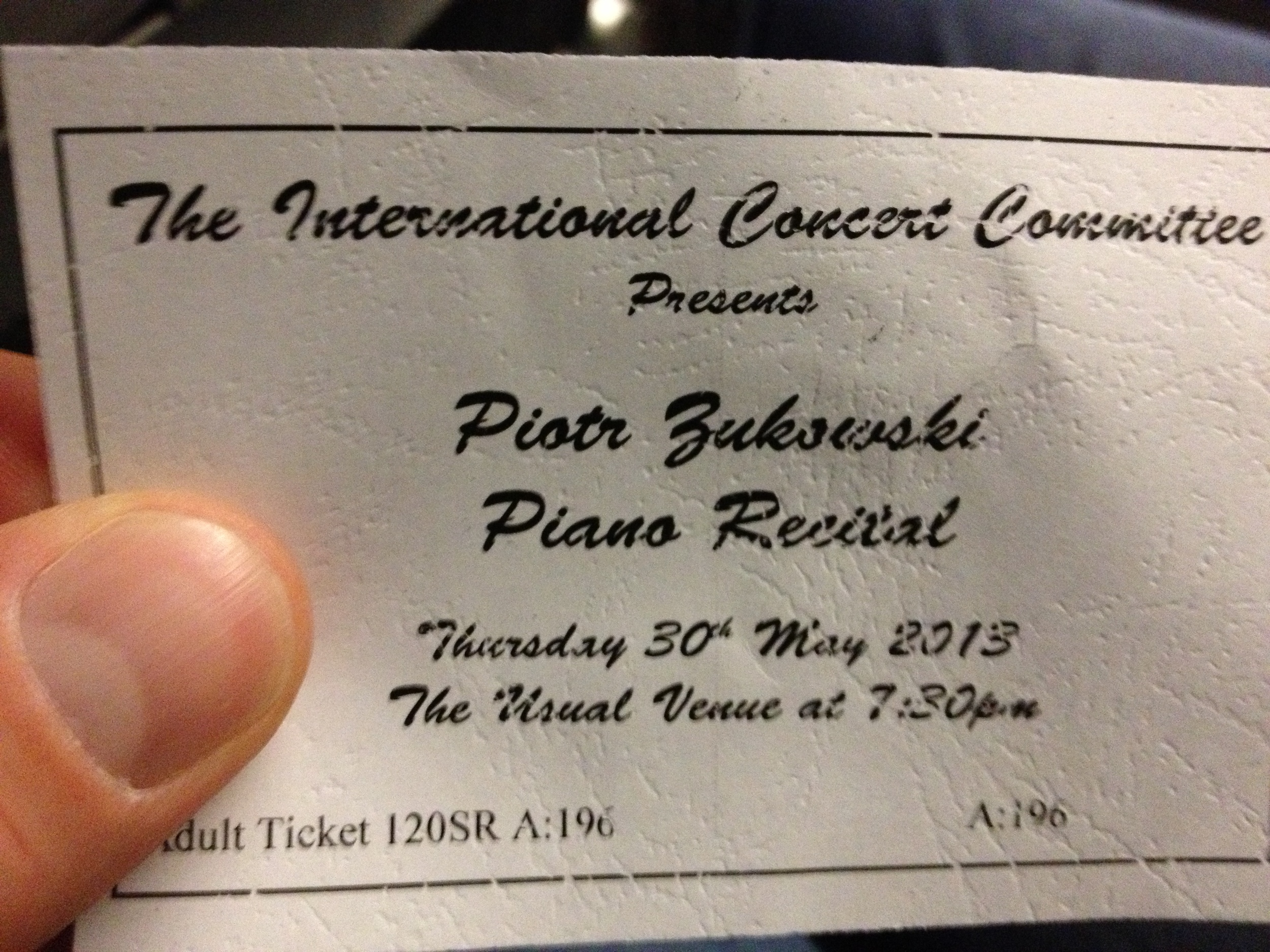 "Note the location listed on the ticket: ""The Usual Venue"""