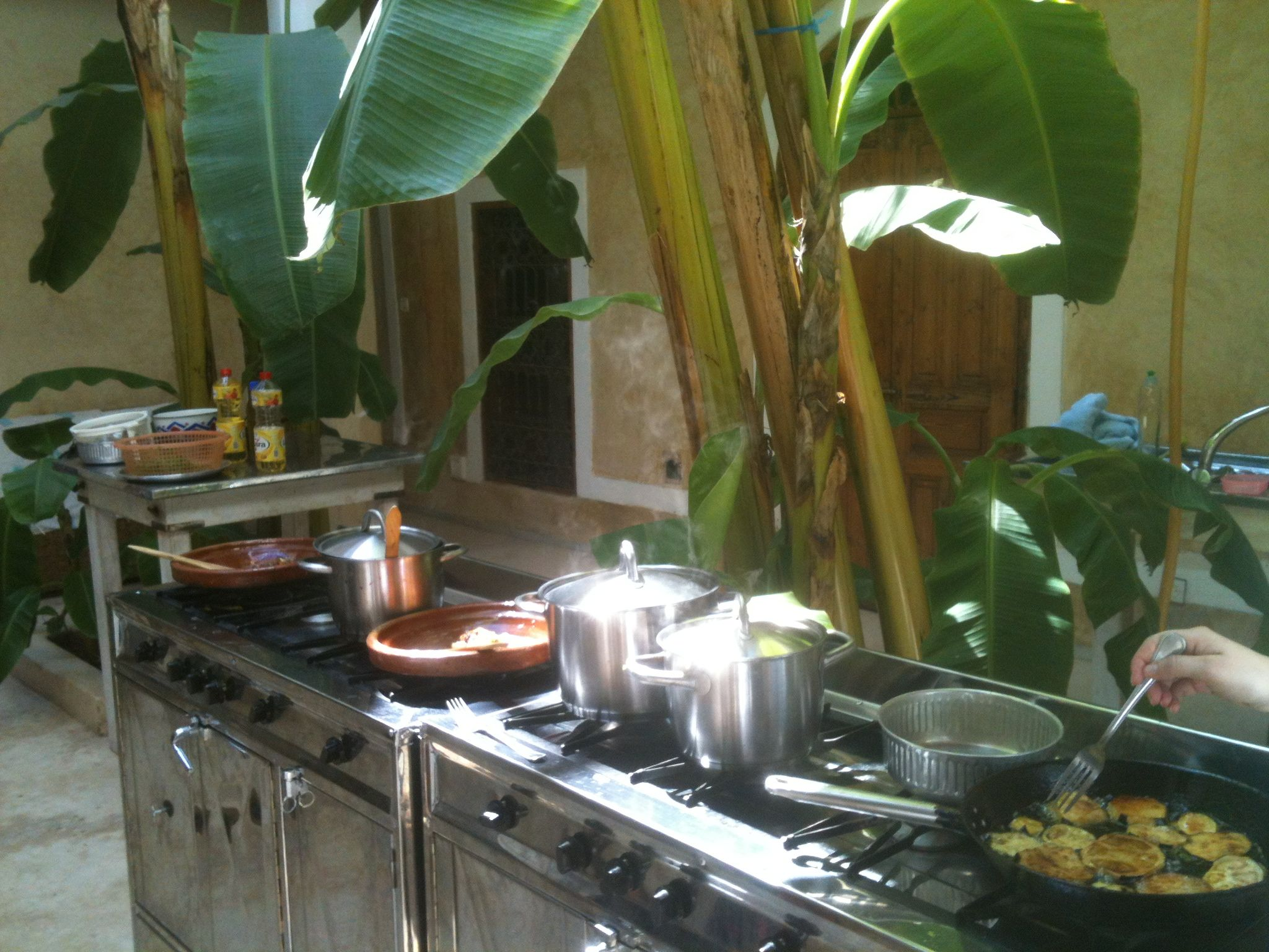 Our riad courtyard kitchen with Souk Cuisine