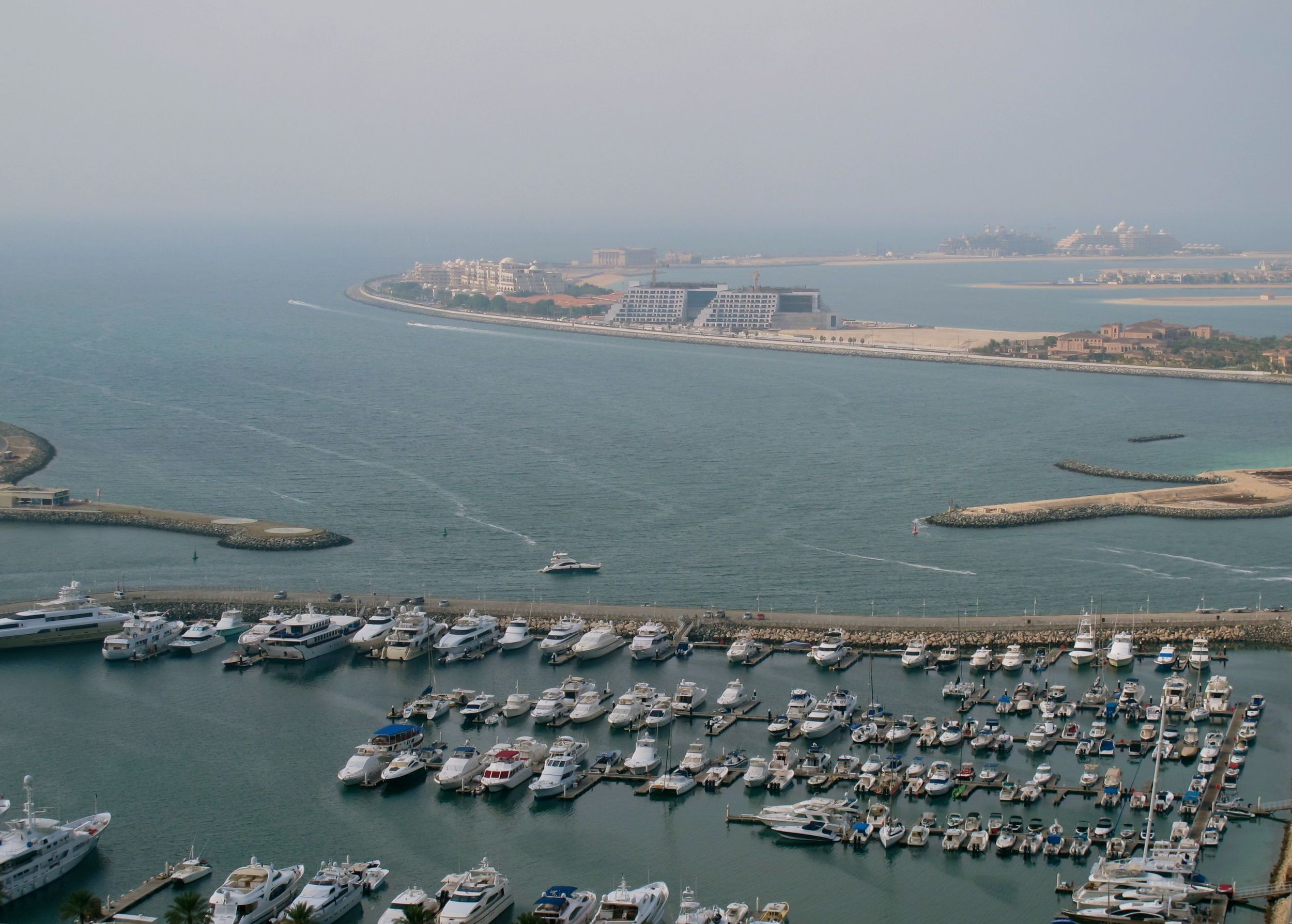 Beyond the marina, you can see the ring encircling Palm Jumeirah Island.