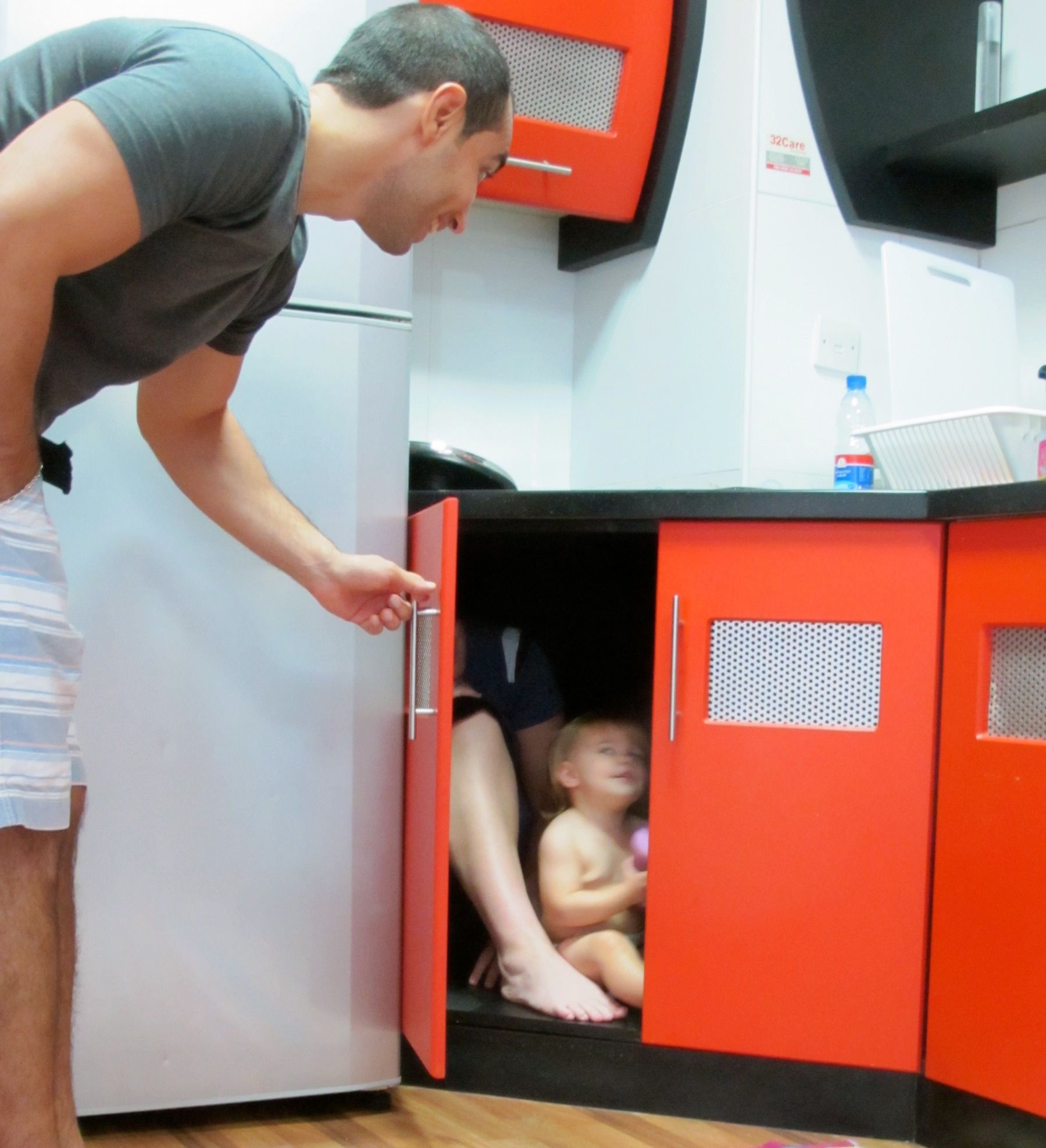 Any cupboard can accommodate a little kid. These were so roomy that mom could fit too!