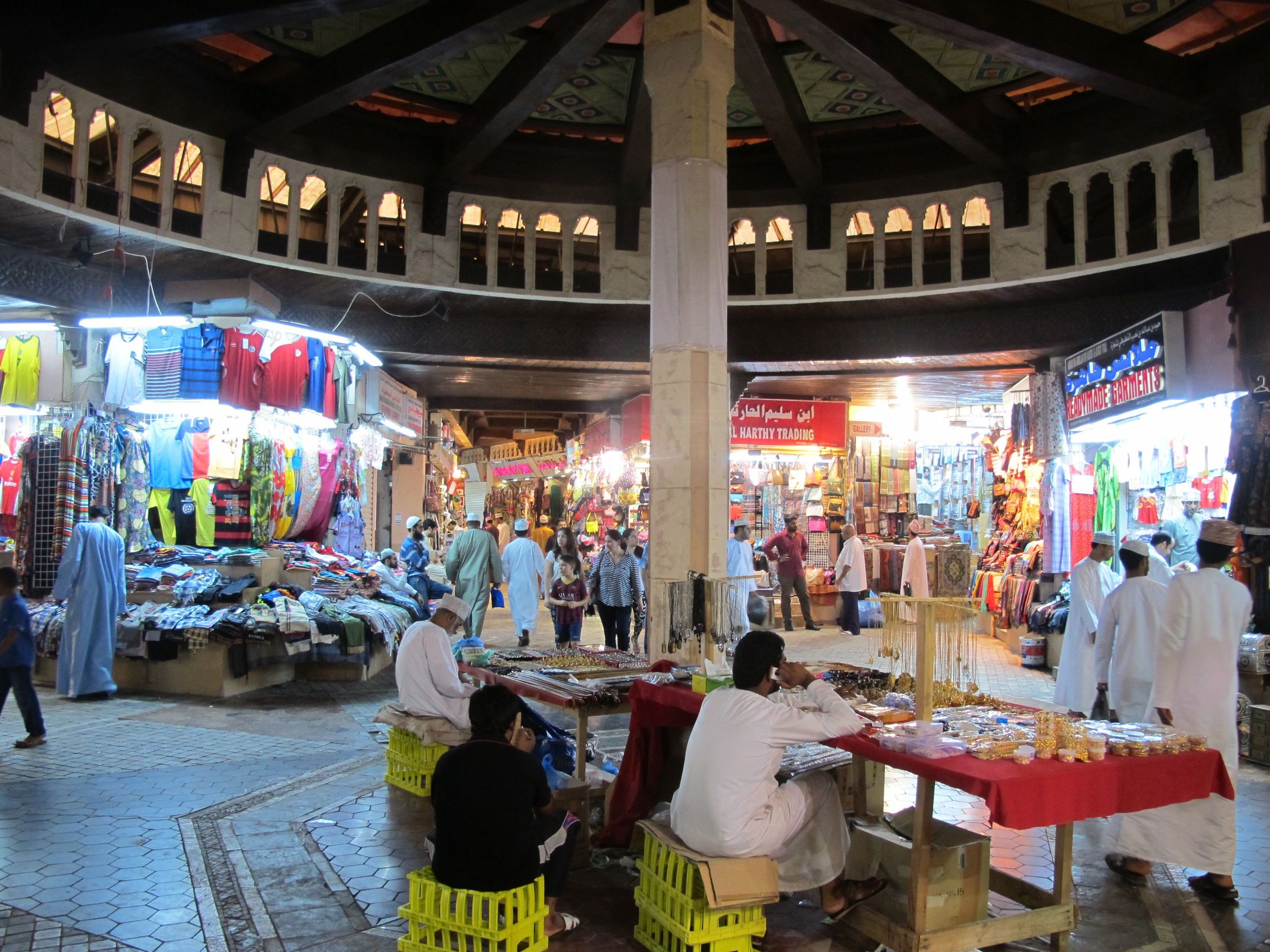 Muscat's souq. Note the timbers and decorative painting on the ceiling.