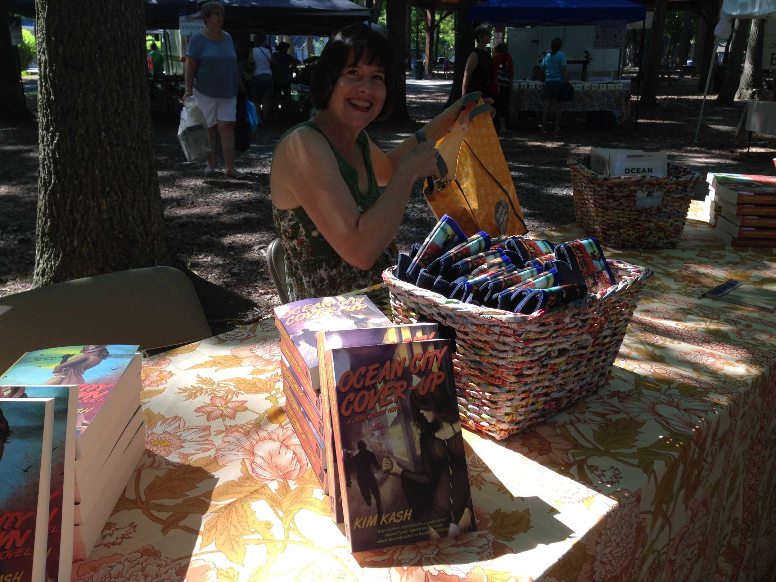 Unpacking for a book signing at the Ocean Pines Farmers Market
