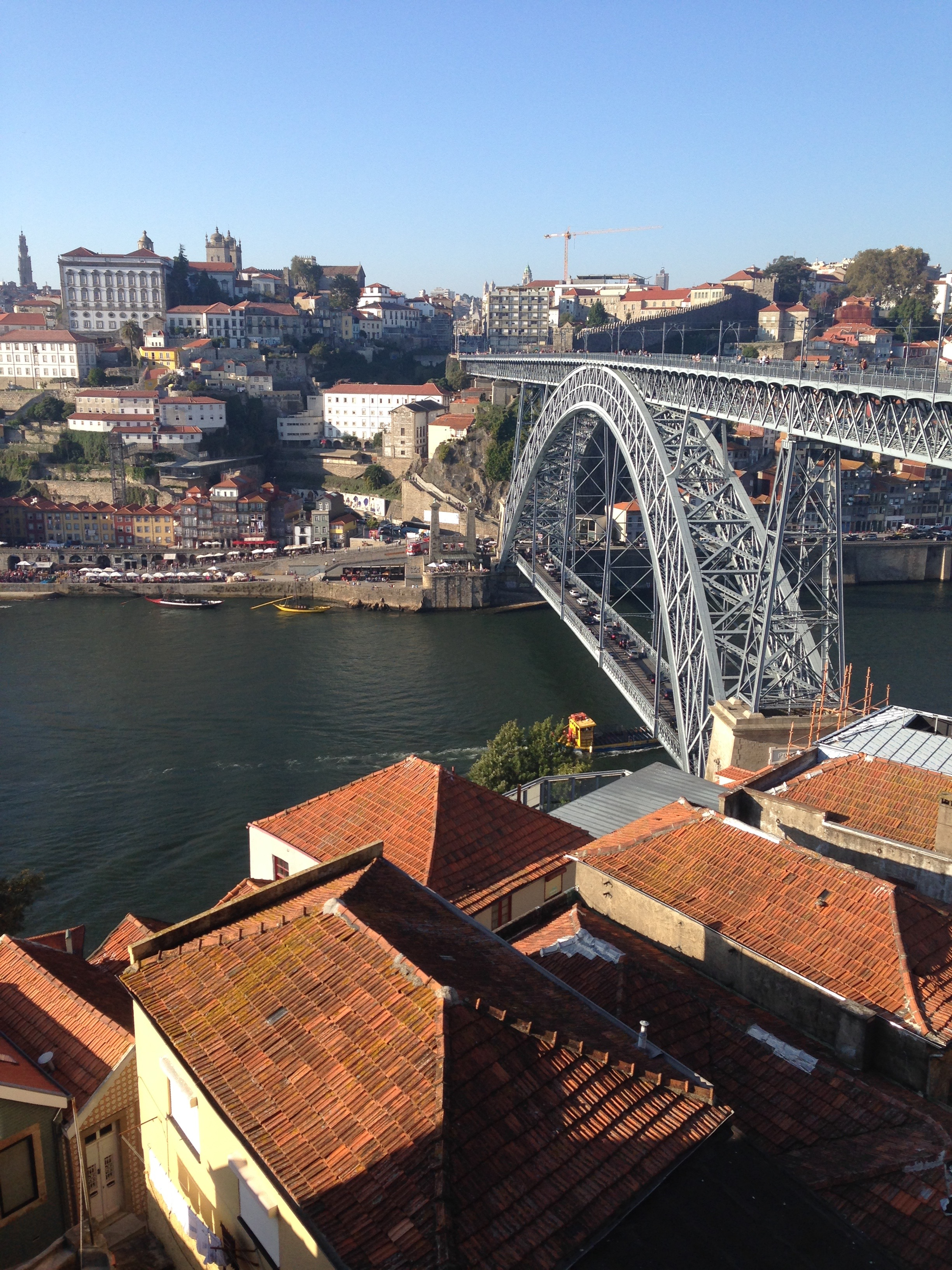 A view from Porto's teleferico, which passes directly over some of the city's--and the world's--best-known port wine producers.