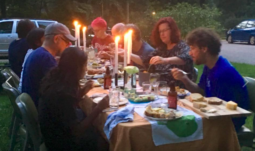 Sunday dinner  al fresco  (sorry for the shaky-phone effect! good thing we remembered to snap a photo at all....)