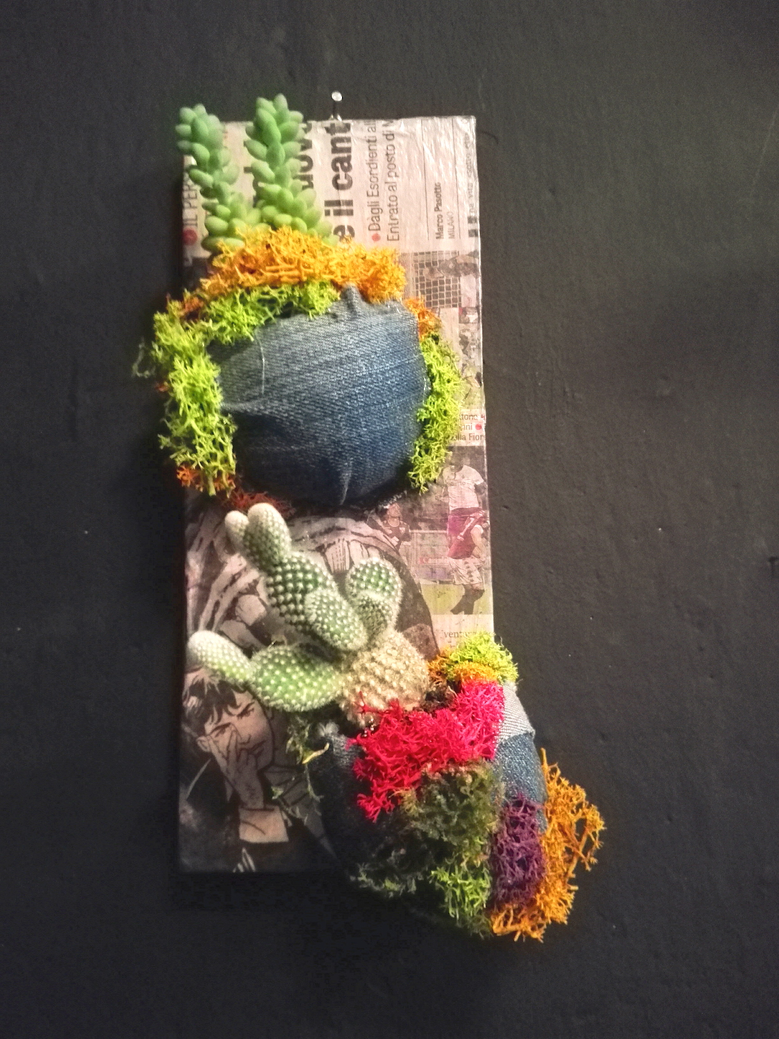 - Materials: wood recycled, pink paper sheet, mini succulents pottedd, colored preserved  mosses, jeans, dry foam Oasis half spheres  - Dimension: 8x20 cm  - Maintenance: watering the pot plants once a week during the warm seasons and once a month during the cold ones
