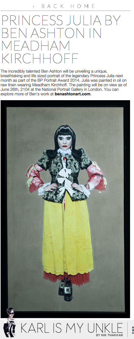 'Princess Julia in Meadham Kirchhoff' by Ben Ashton on KARLISMYUNKLE by Nik Thakkar