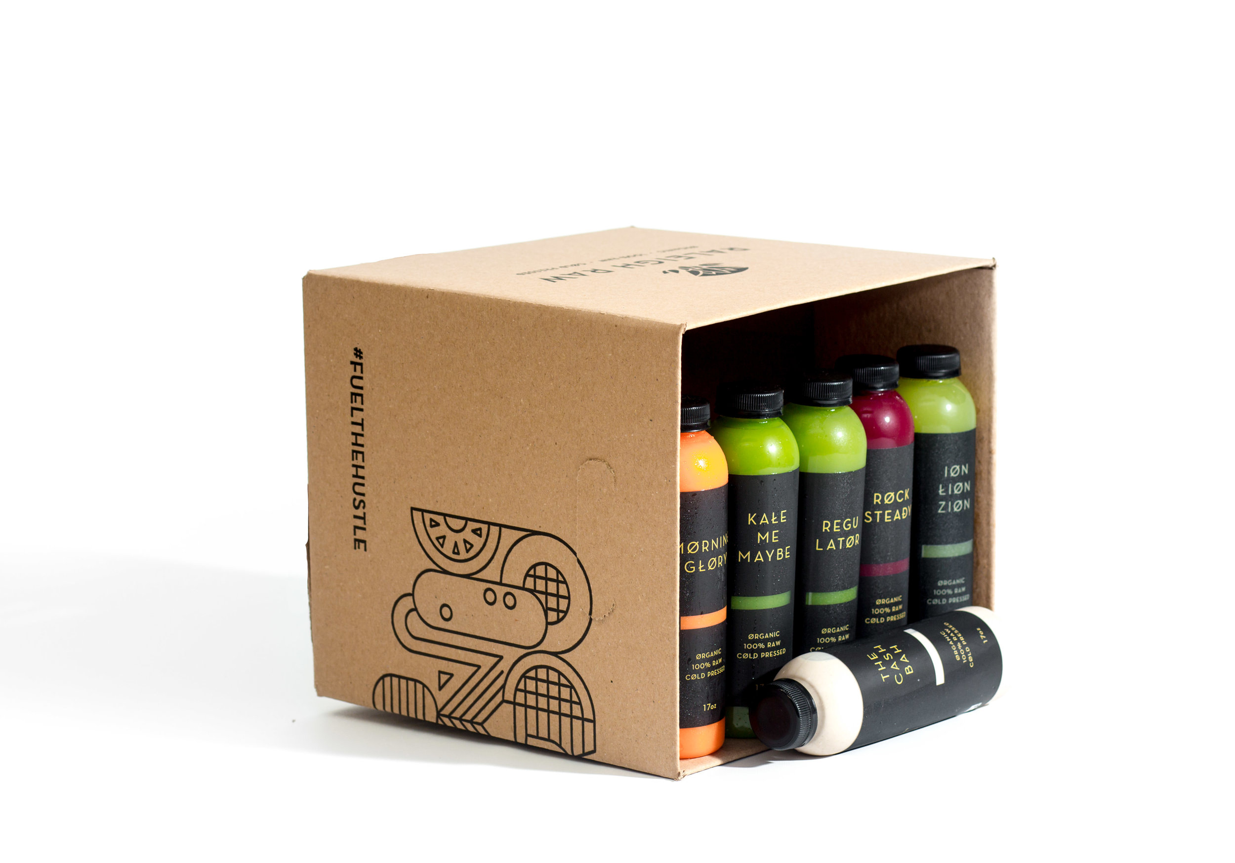 STANDARD CLEANSE - This box was originally developed as our juice cleanse package. It is a balanced box with three greens, two roots, and one nut mylk. The juices are numbered 1-6 to guide you from morning to night with all of the necessary nutrients.Use this as a once-a-week daily cleanse or drink the juices one per day to cleanse your dirty soul with pure vegetables!