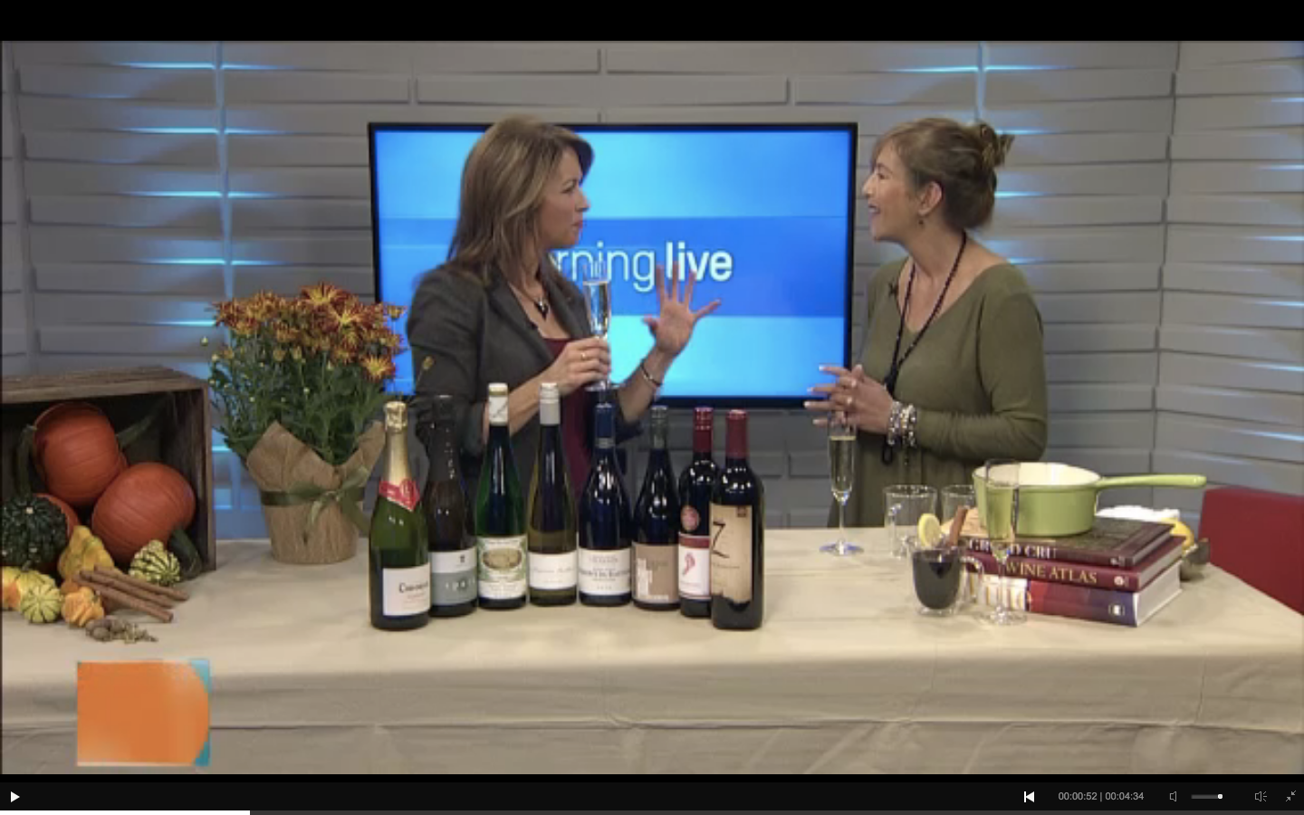 Michelle Paris with  CHCH Morning Live  host  Lesley Stewart  chat about holiday wines.