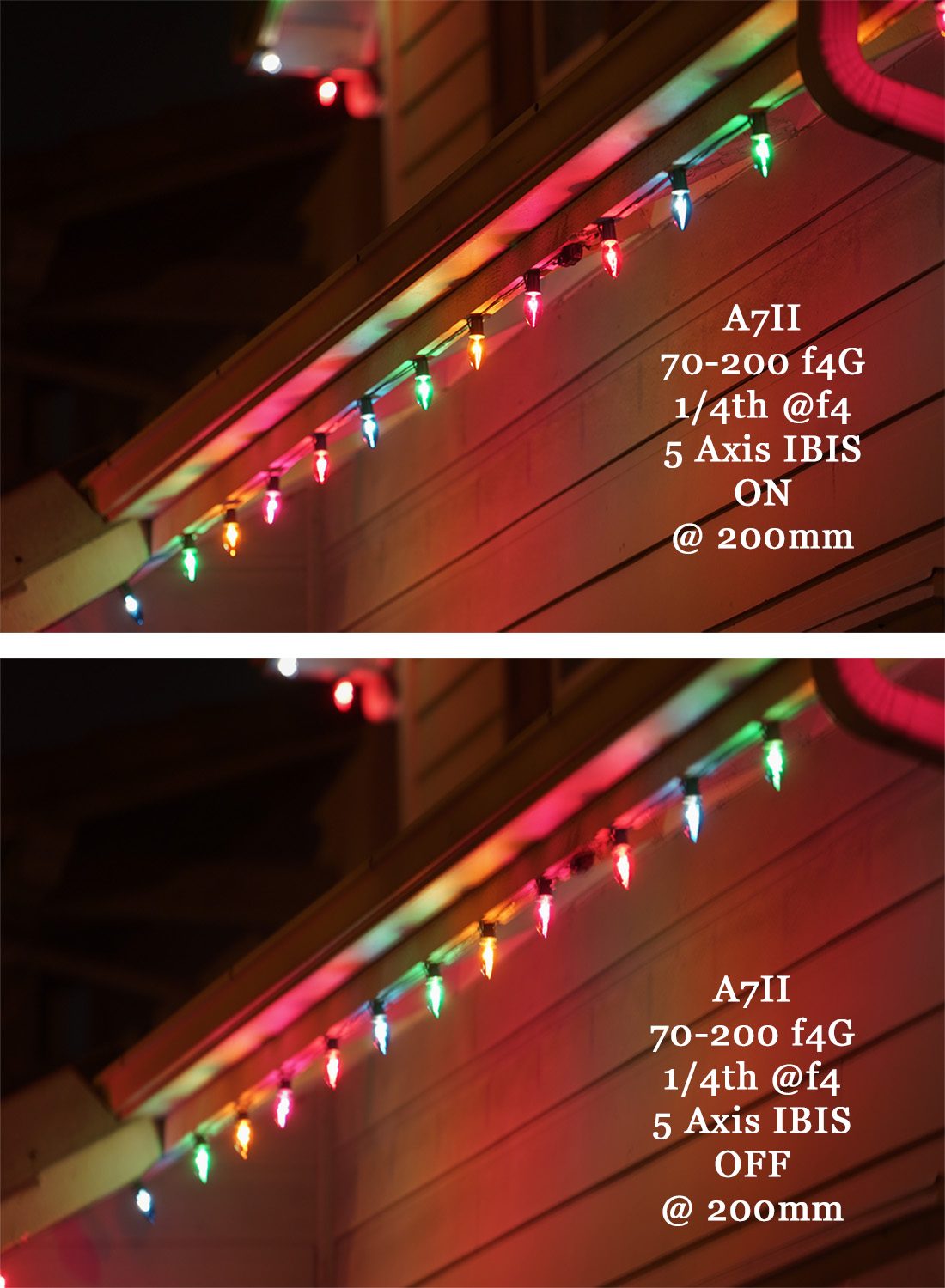 Using the 70-200 f4 G OSS at 200mm at 1/4 second, the new 5 Axis IBIS allows for a sharp image which is astounding for such a long focal length! The bottom image shows the result of turning IBIS Off.