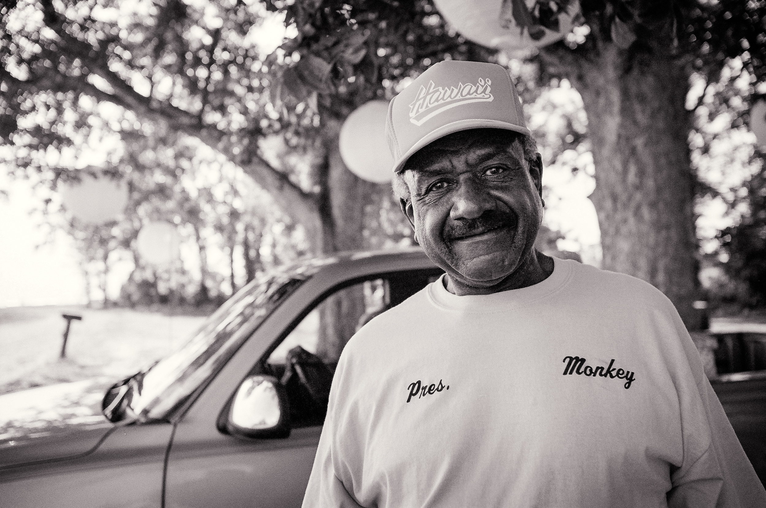 Willie, wearing a t-shirt with his name emblazoned on it, greets me outside his juke joint, before the wedding.