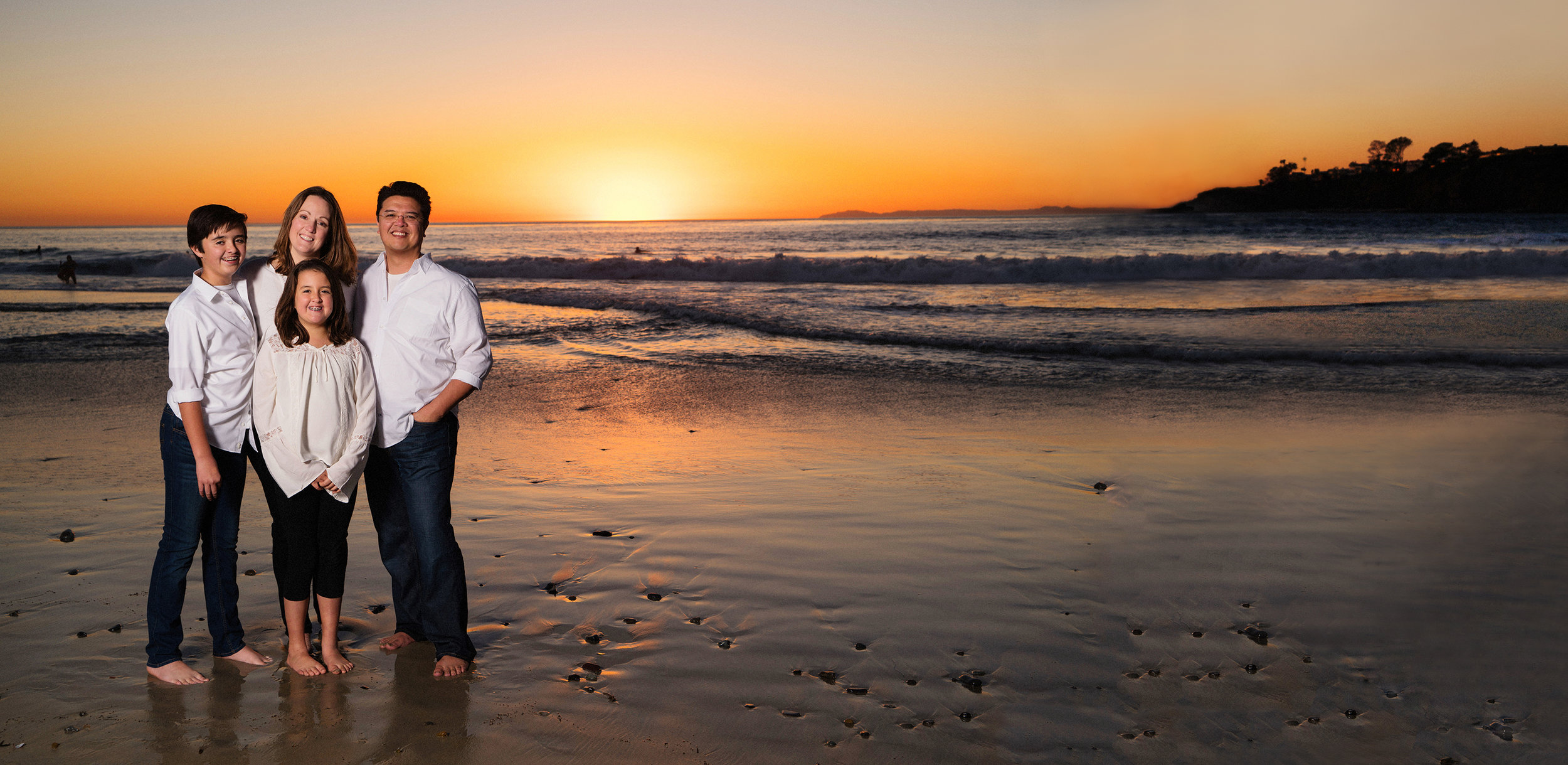 The Martinez family, photographed at Salt Creek Beach just after sunset. This panorama portrait was created specifically for their home and the area over their mantle.